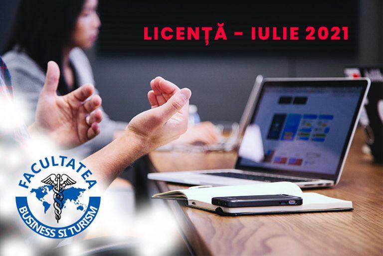 Programarea susținerii Licenței – iulie 2021